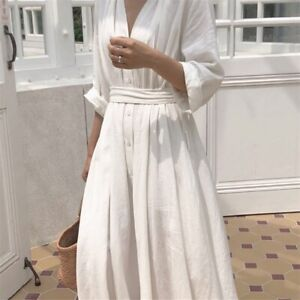 Damen Leinen Baumwolle Kleid V Ausschnitt Lang Gurtel Knopf Locker Freizeit Weiss Ebay