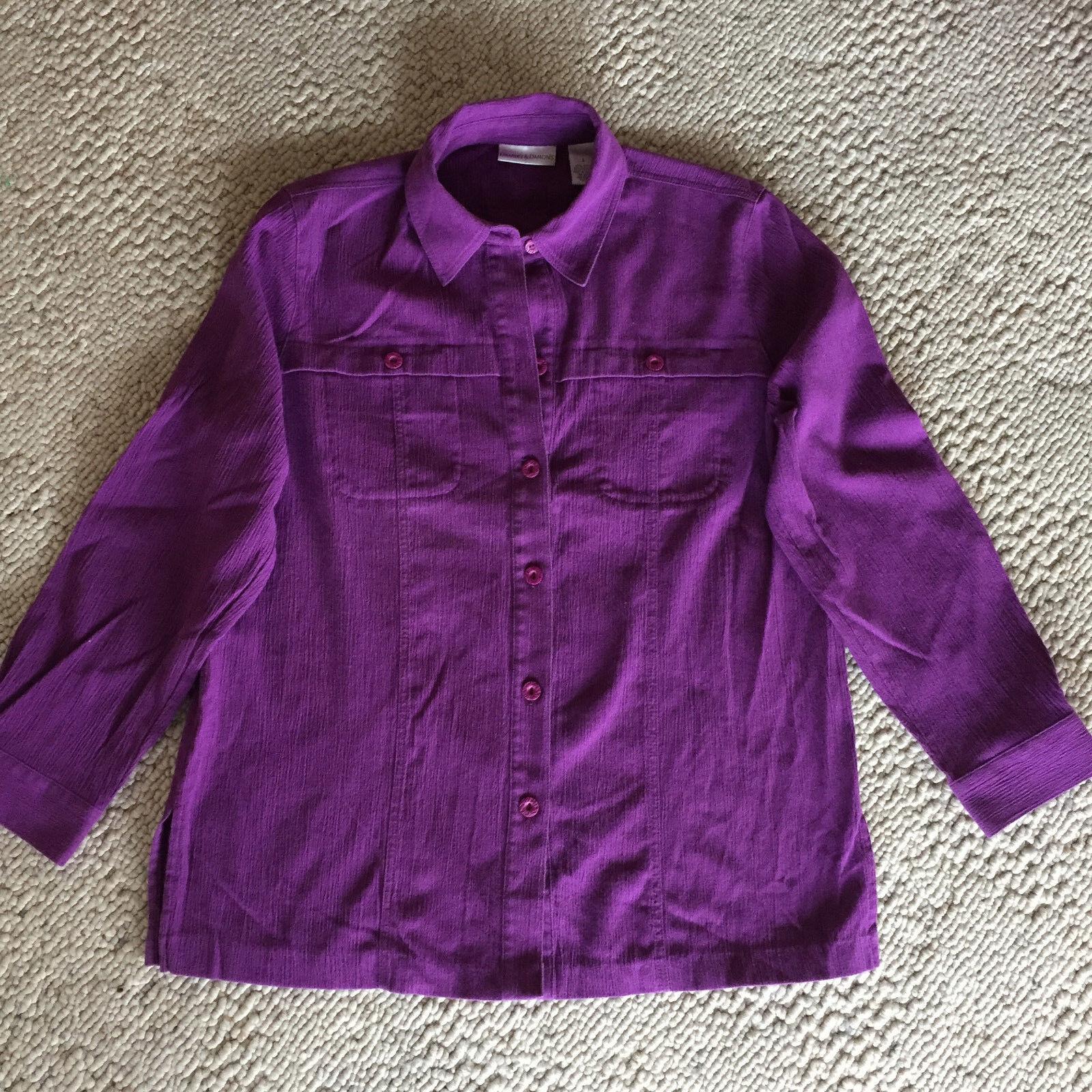 Draper & Damons 3 Piece Outfit Purple Cotton Blend Crinkle Cloth  L