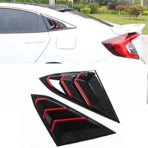 2PCS Carbon Fiber Style Rear Side Window Vent For 2016 2017 2018 Honda Civic