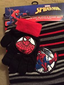 ebb217fc1df2ff SPIDER MAN HAT SCARF GLOVES Set Marvel 3 Pc Childs Spiderman Winter ...