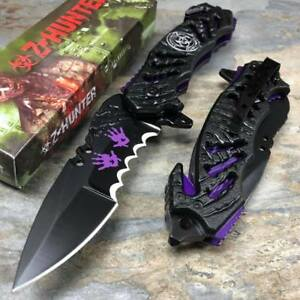 Z-HUNTER-Purple-Hand-Print-Survivor-Hunting-Rescue-Pocket-Knife-ZB-160PE