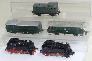 5-tlg-Trix-Express-Bastler-Konvolut-2x-Dampflok-80-018-Personen-u-Gepaeckwagen
