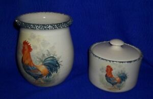 Lot-of-2-Home-amp-Garden-Party-Rooster-Canisters-Made-in-USA