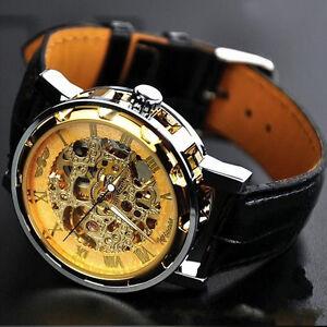 Luxus Sport Herrenuhr Armbanduhr Gold  Edelstahl Leder Skeleton Mechanical Uhren