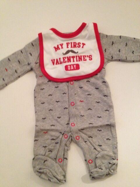 Carter S Baby Boys 2 Pc My First Valentines Day Sleeper Bib Set