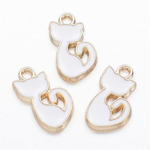 2109 10 trozo de remolque encanto esmaltes gato Golden-blanco 15x8 mm