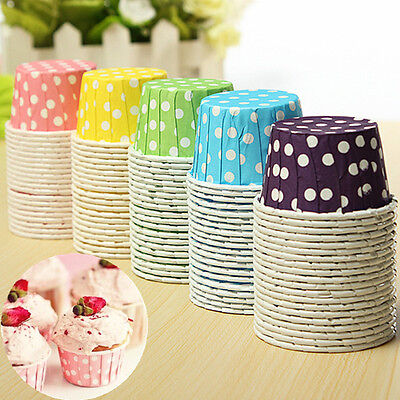 20-100pcs Colorful Paper Cake Cupcake Liner Case Wrapper Muffin Baking Cup Party