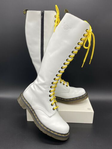 Dr Martens Knee High Boots White 20 Eyelet Yellow