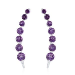 Amethyst-Platinum-Over-925-Sterling-Silver-Ear-Climber-Cuff-Earrings-5-cttw-ST