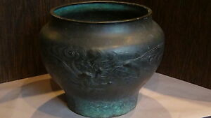 ANTIQUE-18C-CHINESE-LARGE-BRONZE-BOWL-JARDINIER-POT-WITH-RELIEF-FLYING-DRAGON