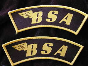 Details about Pair of great quality new BSA CLOTH sew on BADGES in GOLD +  BLACK English made