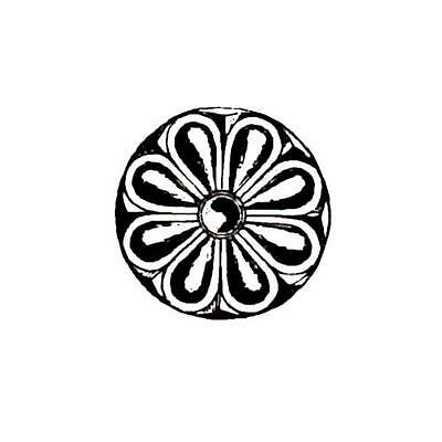 Carved Flower Rosette unmounted rubber stamp accent stamp #1 collage