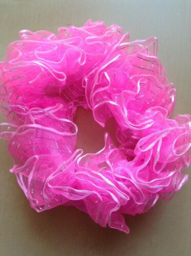 A Pretty Pink And Silver Scrunchie Ponytail Band//Hair Bobble