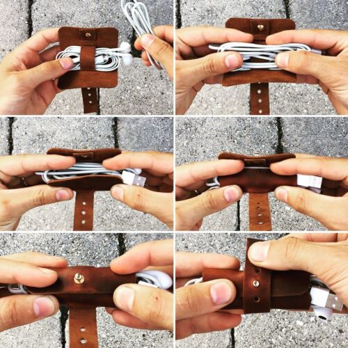 Cable The Joint Adjustable Cord Organizer Earphone Keeper Leather Cord Taco