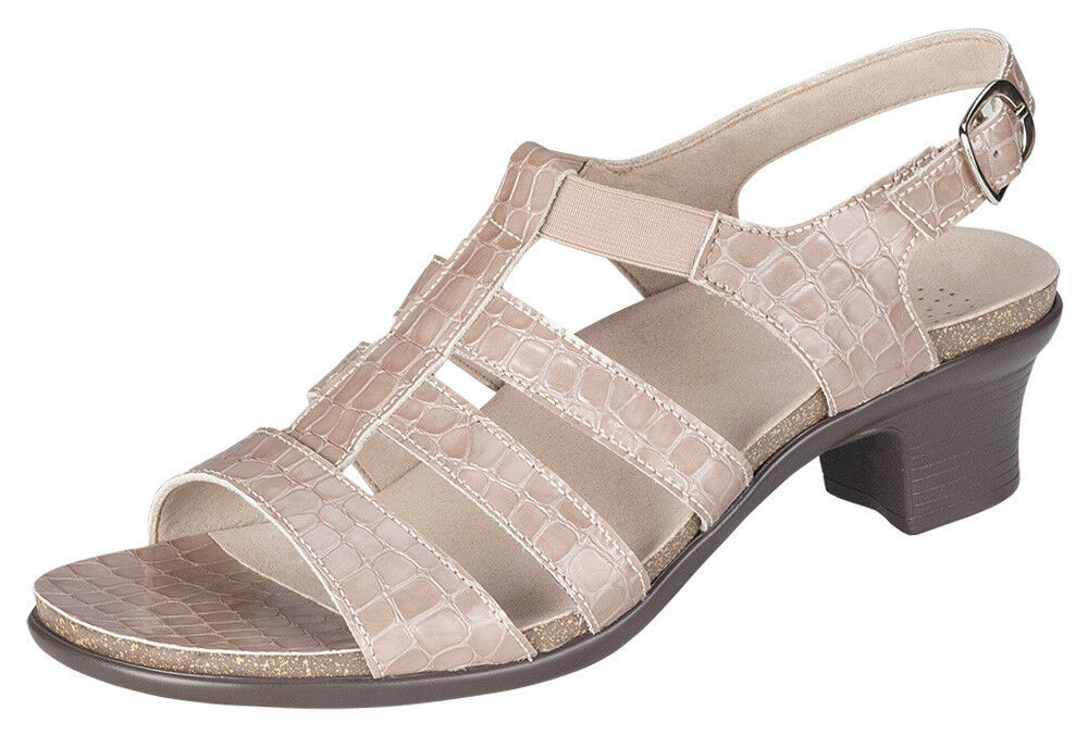 Women's sz 10 N Narrow AA  SAS  ALLEGRO TAUPE PATENT Leather CROC Sandals