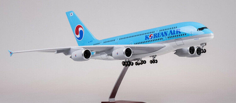 Korean Air 1 160 A380 avión aeronave modelo Passanger Avión Juguete Con Luz 45cm