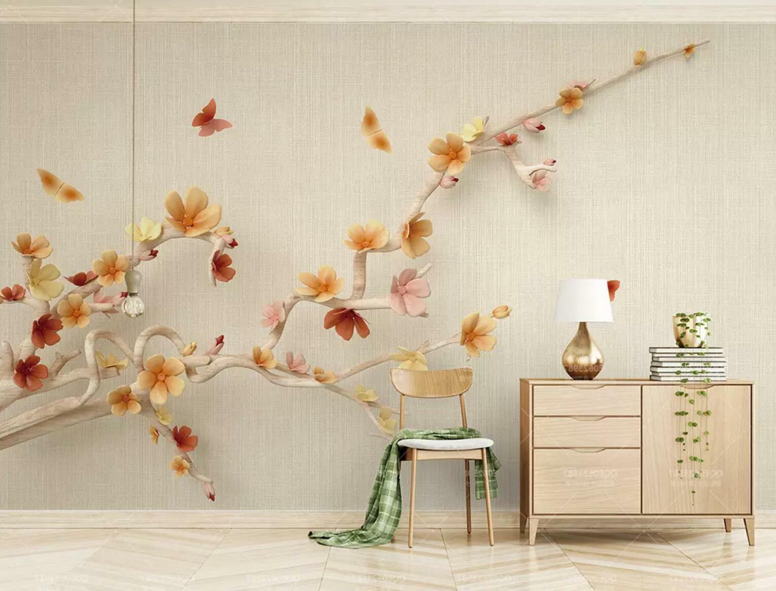 3D Butterflys Tree 56 Wall Paper Exclusive MXY Wallpaper Mural Decal Indoor wall