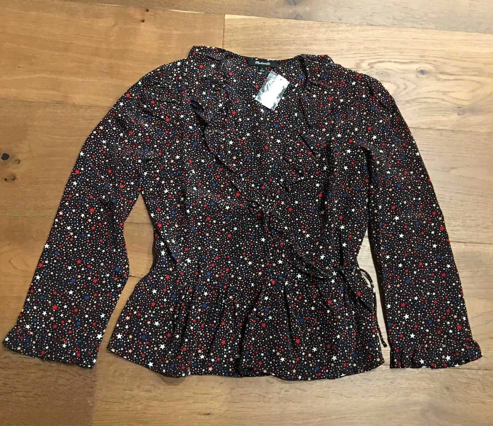 Authentic Madewell Silk Ruffle-Hem Wrap Top in Starry Night XL, NWT