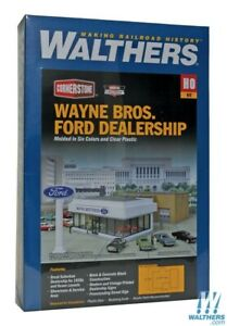 Walthers-933-3483-Wayne-Brothers-Ford-Dealership-Kit-HO-Scale-Train