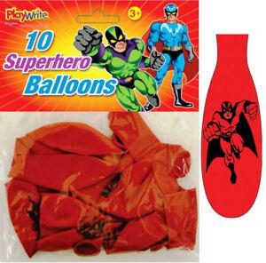 10-Super-Hero-Balloons-Latex-Kids-Party-Loot-Fun-Toys-Bag-Marvel-Batman-DC