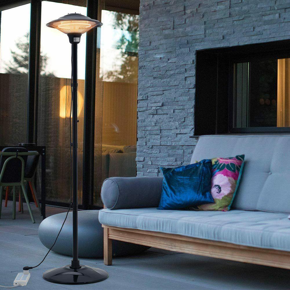 1.5KW Outdoor Electric Quartz Standing Patio Heater Waterproof Garden Heating UK