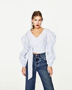 Zara Sky Blue Crossover Poplin Wrap Blouse Top With Full Sleeves Belt M Medium