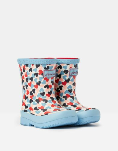 BNWT Joules Girls Toddler Infants Welly Boots Wellies Rainboots White Hearts