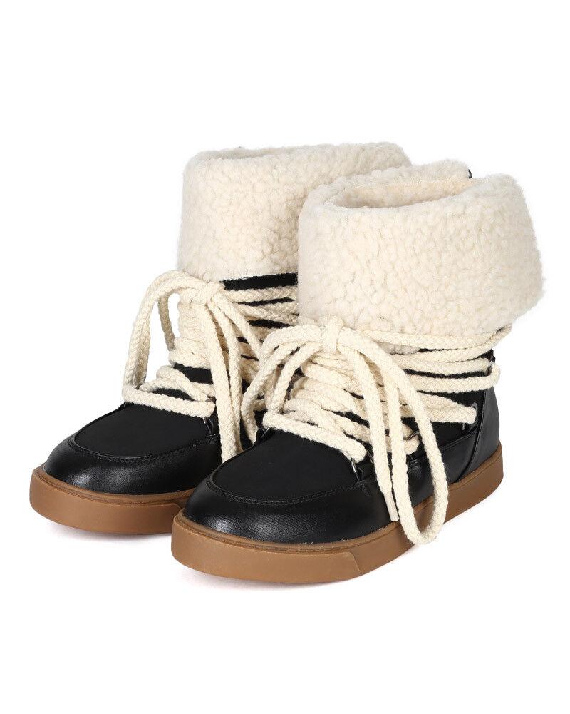 Bumper Nakia-02 New Women Mixed Media Fold Down Shearling Collar Lace Up Boot