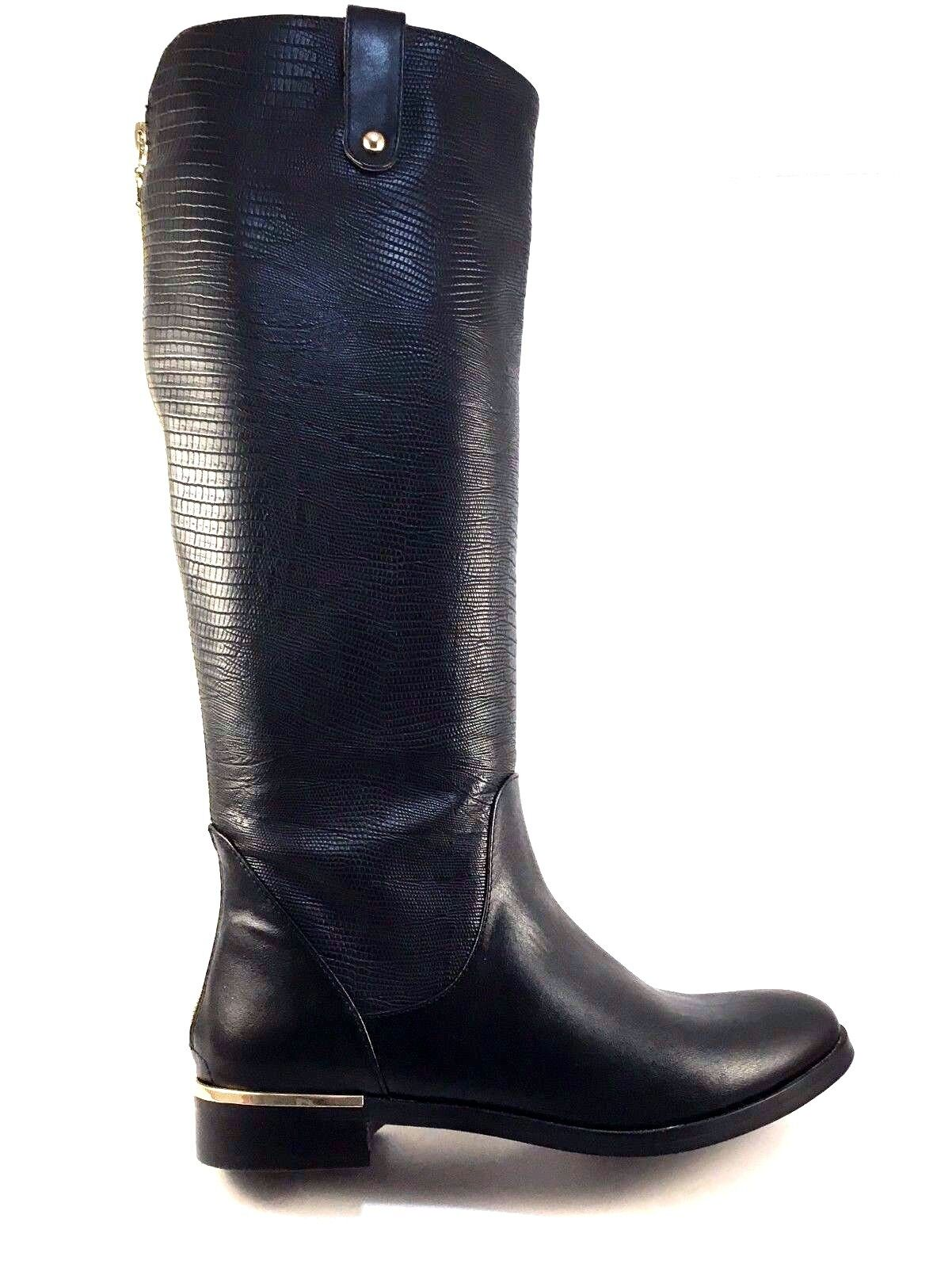 Exe Cristin-510 Black Round Toe Knee High Boots