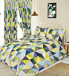 Vert-Citron-Jaune-amp-Bleu-Patchwork-GEOMETRIQUES-Lit-Double-Parure-De-Lit