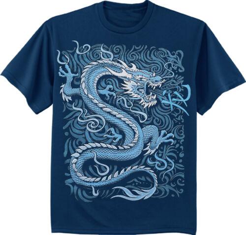 men/'s big and tall t-shirt blue dragon Chinese symbol tall tee shirt for men