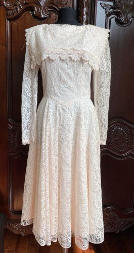 Vintage Gunne Sax Prairie Dress Lace Victorian Pea