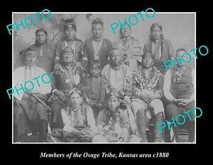 OLD-LARGE-HISTORIC-PHOTO-OF-INDIAN-OSAGE-TRIBE-GROUP-PHOTO-c1880-KANSAS-AREA