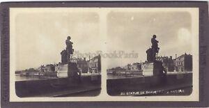 Angers Estatua Beaurepaire Francia Estéreo Vintage Analógica Aprox 1900