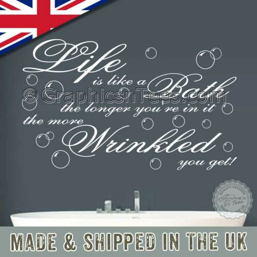 Wrinkled Home Wall Art Decal Life is like a Bath Bathroom Wall Sticker Quote