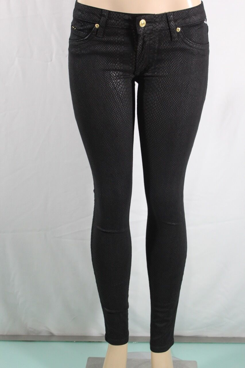 Robin 'S Jeans Neu Damen Skinny Sz 27 Tiermuster Schwarz Schrittlänge