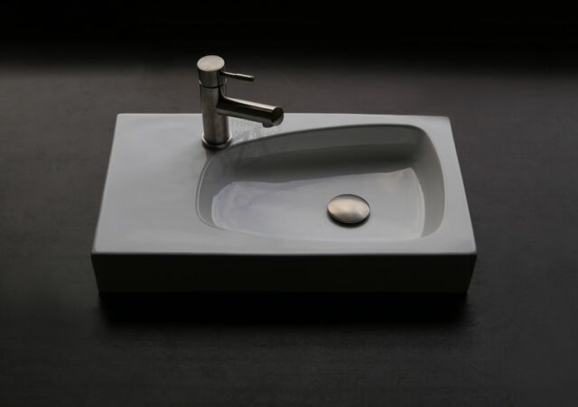 Above counter art Basin with pop up plug and waste  tap hole square