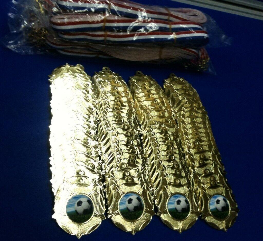 100 x CALCIO METALLO MEDAGLIE DORATI oro & nastri nastri nastri Superbo valore | Trasporto Veloce  404652
