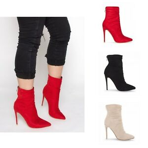 Ankle Ladies Heel Womens Stiletto Slim Sock Pointed Fit Boots High CIwSqwd