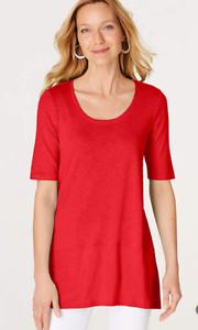 NEW-J-JILL-M-L-Pima-Slub-knit-S-S-Dipped-hem-Tunic-Knit-Cotton-Angled-Red
