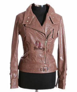 Cowhide Real Brown Tara Vintage Jacket Biker Short Leather Ladies Style sr4110 xwq6g7nnR8