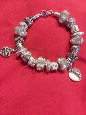 96ddcb8484f8b AUTHENTIC CHAMILIA Bracelet w/ OPAL CZ HEART free Mom & .925 Flower CHARMS  & BOX | eBay