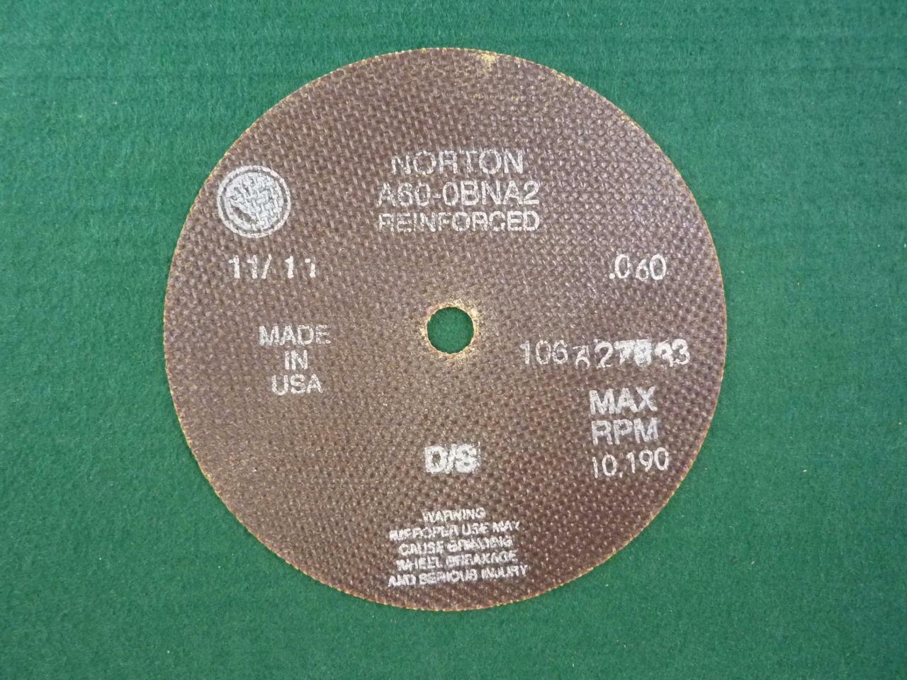 "NORTON 6/"" x 0.060 x 1//2/"" Reinforced 60 Grit A60-0BNA2 Cut Off Wheel **Lot of 4**"