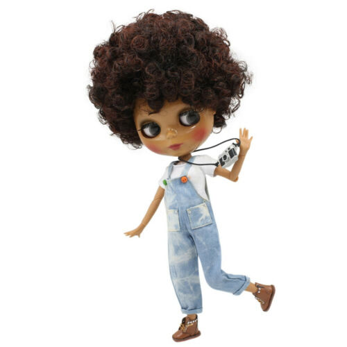 """ICY Blythe Doll Nude 12/"""" Joint Body Short Curly Black Mix Brown Hair Dark Skin"""