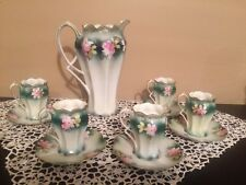 RS PRUSSIA Pitcher Chocolate Coffee Pot 5 Demitasse Cups Saucers  NO RESERVE!