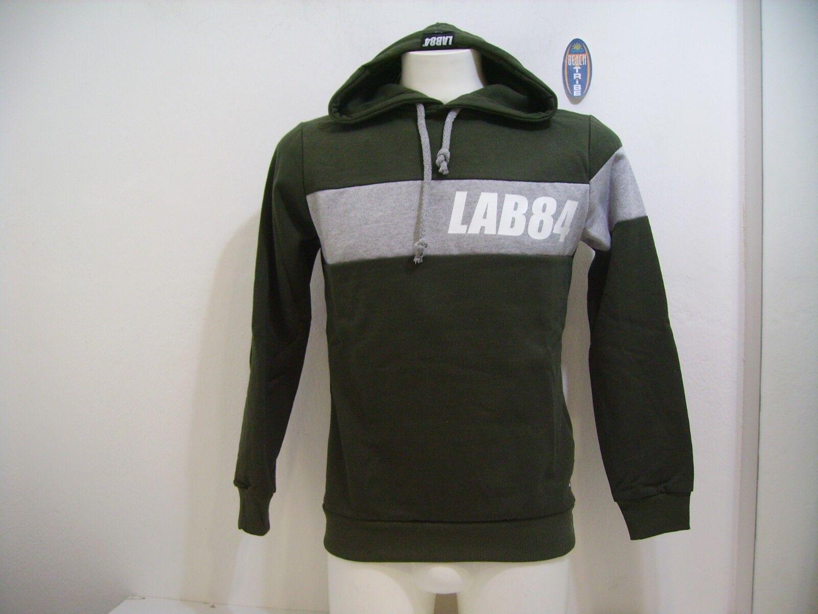 Lab84 Herren Sweatshirt Hood Closed Winter F8 FLPM0321 Military Grün Größe S