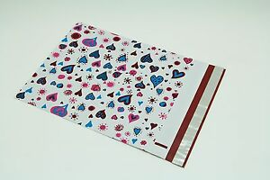 500 10x13 Blue Hearts Designer Poly Mailers Envelopes Boutique Custom Bags