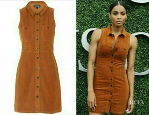 choose best brand quality online retailer Details about Ciaras TOPSHOP Tan Brown Cord corduroy Buttons front Shift  Skater Dress SIZE 8