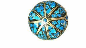Vintage-Made-in-India-Turquoise-Color-and-Brass-Brooch-pin