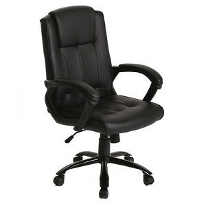 Charming Image Is Loading Black PU Leather Ergonomic Office Executive Computer Desk